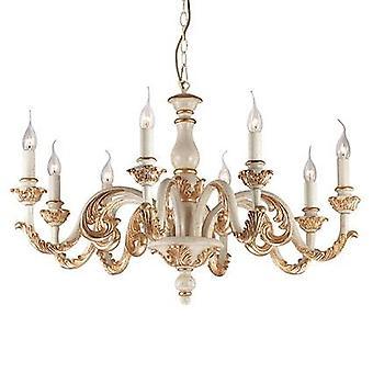 Ideal Lux - Giglio-Gold und weiß fertig acht Licht Kronleuchter IDL075341