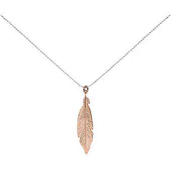 Bella Single Feather Pendant - Silver/Rose Gold