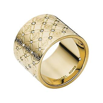 Michael Kors Ladies Gold Tone Barrel Glitz Ring - Mkj4288710