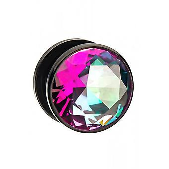 Body Vibe Purple And Green CZ Black Plated Plugs