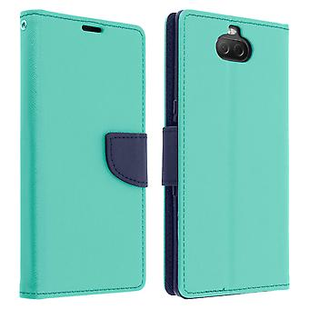 Fancy style cover, wallet case with stand for Sony Xperia 10 Plus - Green