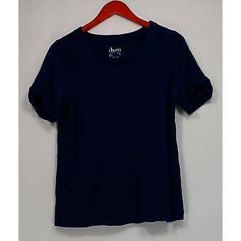 Denim & Co. Scoop Collo Short-Sleeve Top con Tie Detail Blue