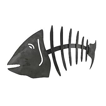 Distressed Grey Metal Fishbone Wall Hanging