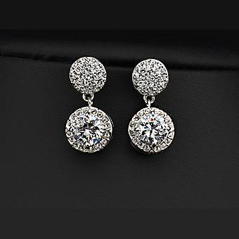18K White Gold Plated 2 Carat Cubic Zirconia Drop Earrings, 2.7cm