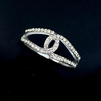 18K White Gold Plated CC Ring