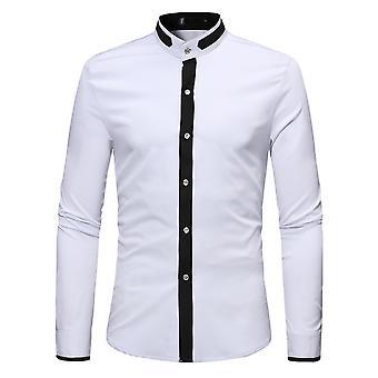 Allthemen Men's Colorblocked Stand Collar Casual Camicia a maniche lunghe