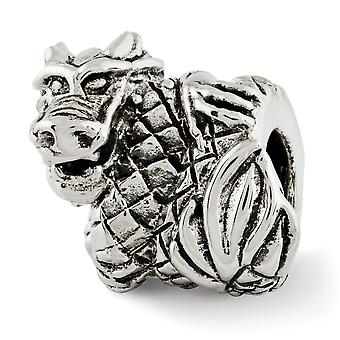 925 Sterling Silber poliert antike Finish Reflexionen Drachen Perle Charme