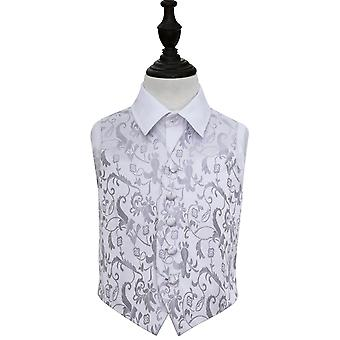Boy's Silver Passion Floral Patterned Wedding Waistcoat