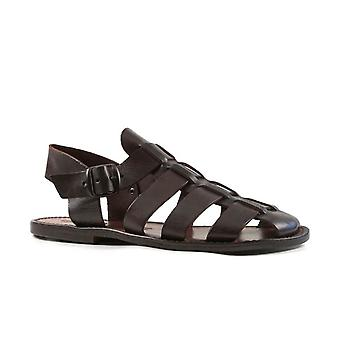 Handmade in Italy mens Franciscan sandals in dark brown leather