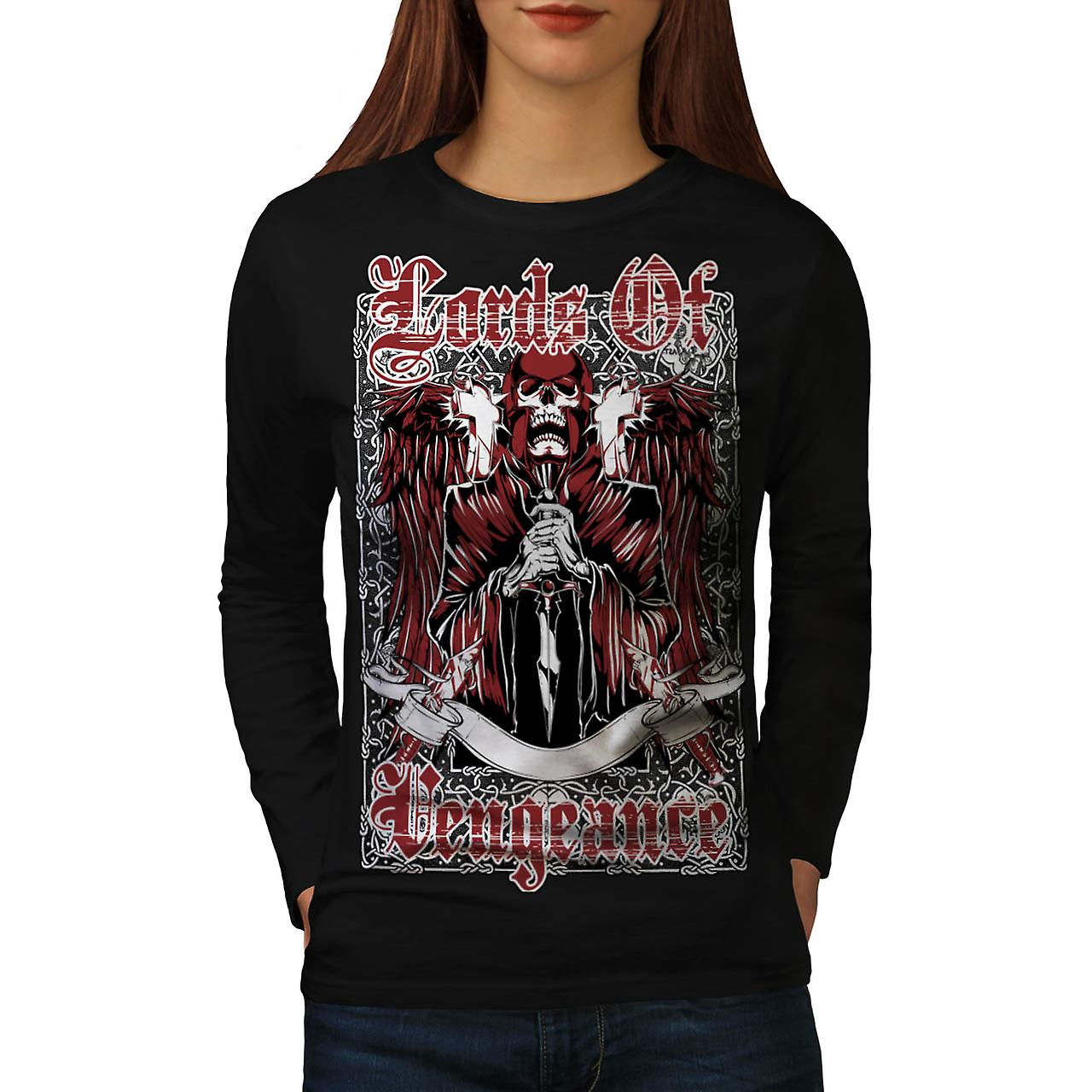 Lords Of Vengeance Monster Skull Women Black Long Sleeve T-shirt | Wellcoda