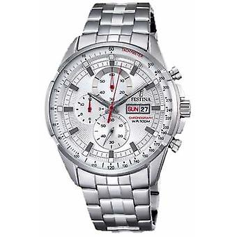Festina Mens Chronograph Stainless Steel Bracelet Silver Dial F6844/1 Watch
