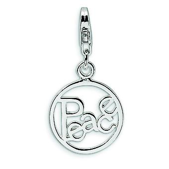 Sterling Silver Polished Peace in Circle With Lobster Clasp Charm - 1.3 Grams - Measures 27x14mm