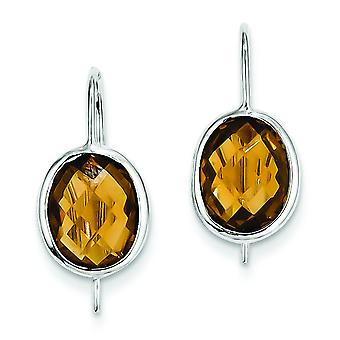 Sterling Silver Polished Open back Kidney wire Rhodium-plated Checkerboard-cut Rhodium Plated Whiskey Quartz Oval Dangle