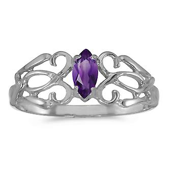 14k White Gold Marquise Amethyst Filagree Ring