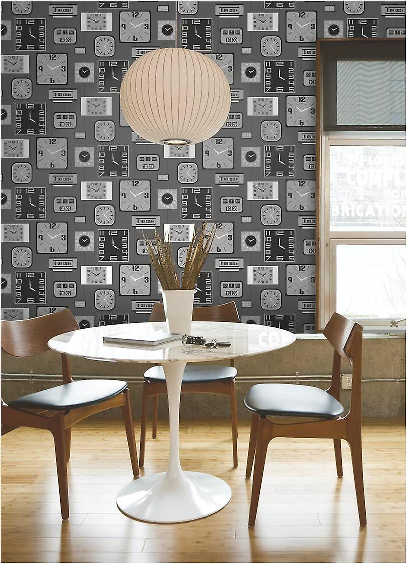 Clocks Wallpaper Luxury Heavyweight Paste The Paper Grey Black Metallic Silver