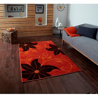 Brown & Orange Floral Modern Rug Felice