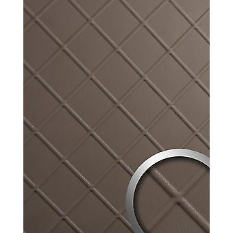 Decorative Panel leather optics WallFace 19544 CORD Dove tale wall panel embossed nappa leather optics matt Brown self-adhesive 2.6 m2