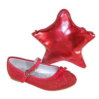 Girls red sparkly balllerina shoes with red star shaped bag