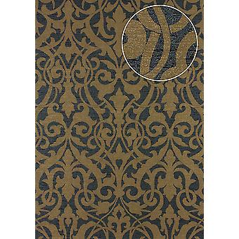 Baroque wallpaper Atlas PRI-545-2 non-woven wallpaper textured fabric look matte grey bronze umbra grey green brown 5.33 m2