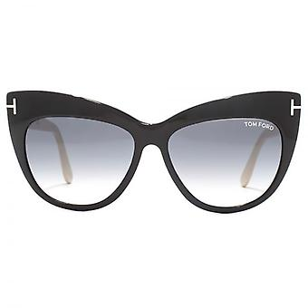 Tom Ford Nika Sunglasses In Shiny Black Nude