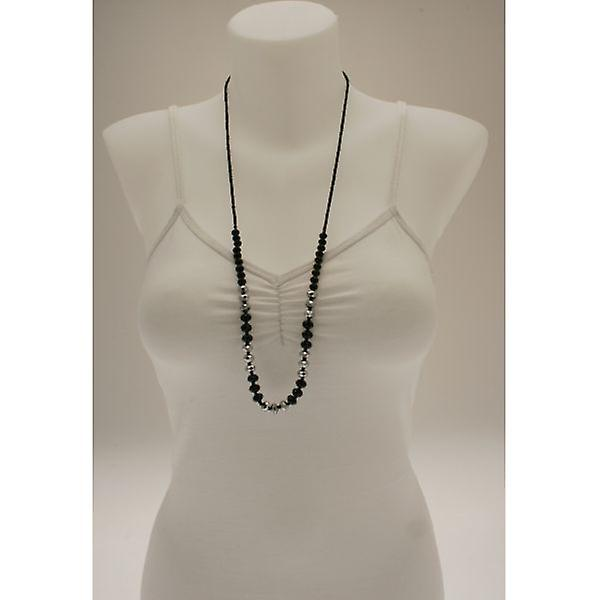 W.A.T Black Facet Cut Crystal Bead Necklace