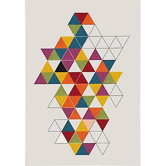 Flat pile carpet triangle zig zag pattern colorful high quality modern multi