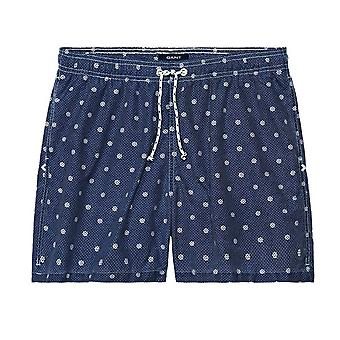 GANT Indigo Wheel Swim Boxer Mens Swimming Shorts - Blue