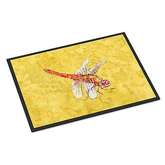 Carolines Treasures  8866MAT Dragonfly on Yellow Indoor or Outdoor Mat 18x27 Doo