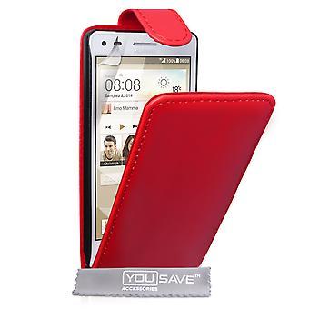 Guarde acessórios Huawei Ascend G6 couro-efeito caso aleta - vermelho
