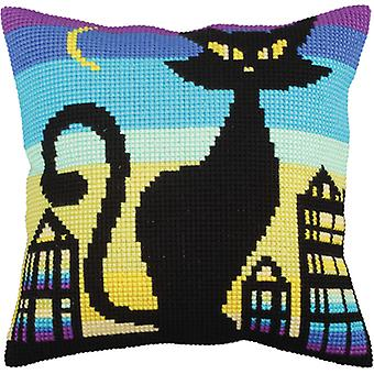 Collection D'art Stamped Needlepoint Cushion Kit 40x40cm-Black Grace CD5260