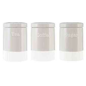 Premier Housewares Jura Tea Coffee Sugar Canisters, Grey