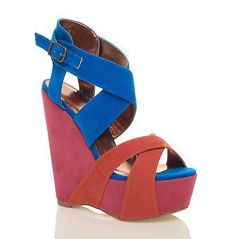 Ajvani dame platform høj hæl kile strappy sommer sandaler sko