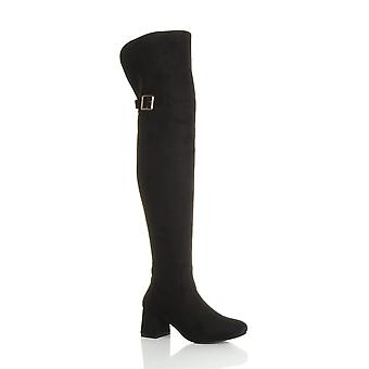 Ajvani womens block mid heel zip buckle fold over cuff over the knee high boots