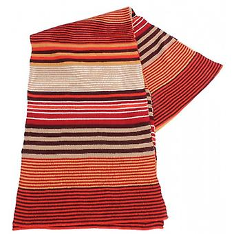 Bassin and Brown Ulyett Horizontal Stripe Scarf - Red/Brown/Taupe