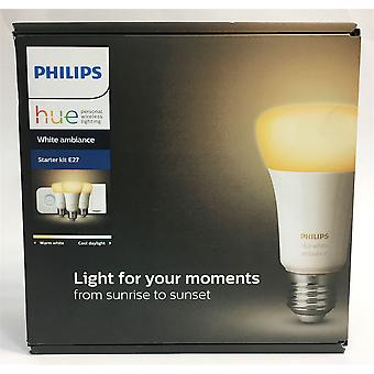 Philips Hue White Ambience A19 E27 60W Equivalent Smart Bulb Starter Kit (3 A19 Bulbs, 1 Bridge and 1 Dimmer Switch)