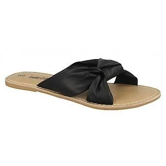 Leather Collection Womens/Ladies Knot Vamp Mule Sandals