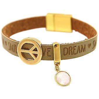 Gemshine - ladies - bracelet - harmony - peace - WISHES - Rose Quartz - Brown sand - magnetic closure