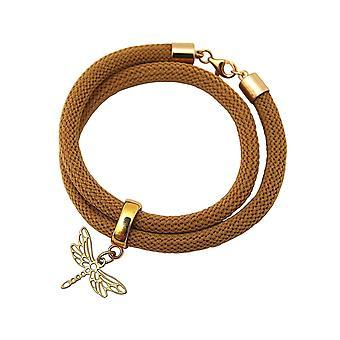 Gemshine Damen Armband Wickelarmband 925 Silber Vergoldet Libelle Braun