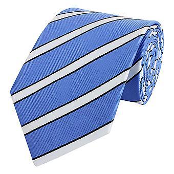 Schlips Krawatte Krawatten Binder 8cm hellblau weiß gestreift Fabio Farini
