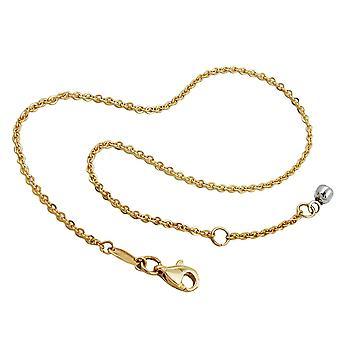 Cavigliere d'oro 375 catena d'oro, salpa con la sfera di fine, oro 9 KT