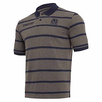 2018-2019 Scotland Macron Rugby Stripe Poly Cotton Polo Shirt (Charcoal)