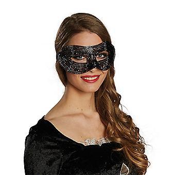 Domino Diamant schwarz Maske Bling Bling Accessoire Karneval Weiberfastnacht