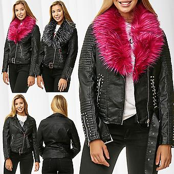 Ladies Leather Jacket Leather Optic Biker Blouson Fake Fur Collar Faux Leather