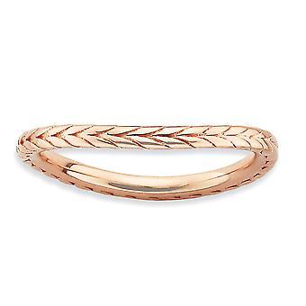 1,5 mm Sterlingsilber gemustert stapelbar Ausdrücke poliert rosa vergoldet Wave Ring - Ring-Größe: 5 bis 10