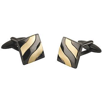 Botões de punho de David Van Hagen efeito de onda quadrada - preto/ouro