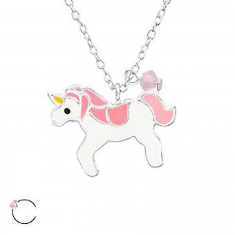 Piger sterling sølv og epoxy unicorn halskæde med en krystal fra Swarovski