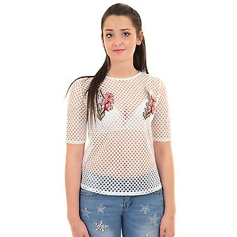 Ladies Short Sleeve Fish Net Mesh Semi Sheer Rose Embroidered T-Shirt Top