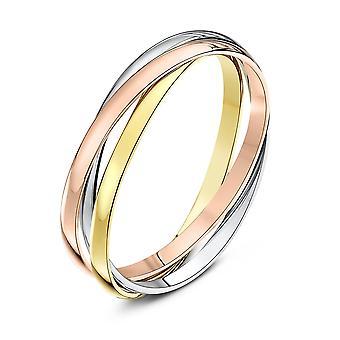 Star Wedding Rings 9ct Three Colour Gold 2mm Russian Wedding Ring