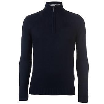 Pierre Cardin Mens Quarter Zip Plain Jumper Sweater Pullover Long Sleeve High