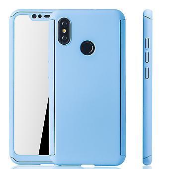 Xiaomi Mi 8 Handy-Hülle Schutz-Case Full-Cover Panzer Schutz Glas Hellblau